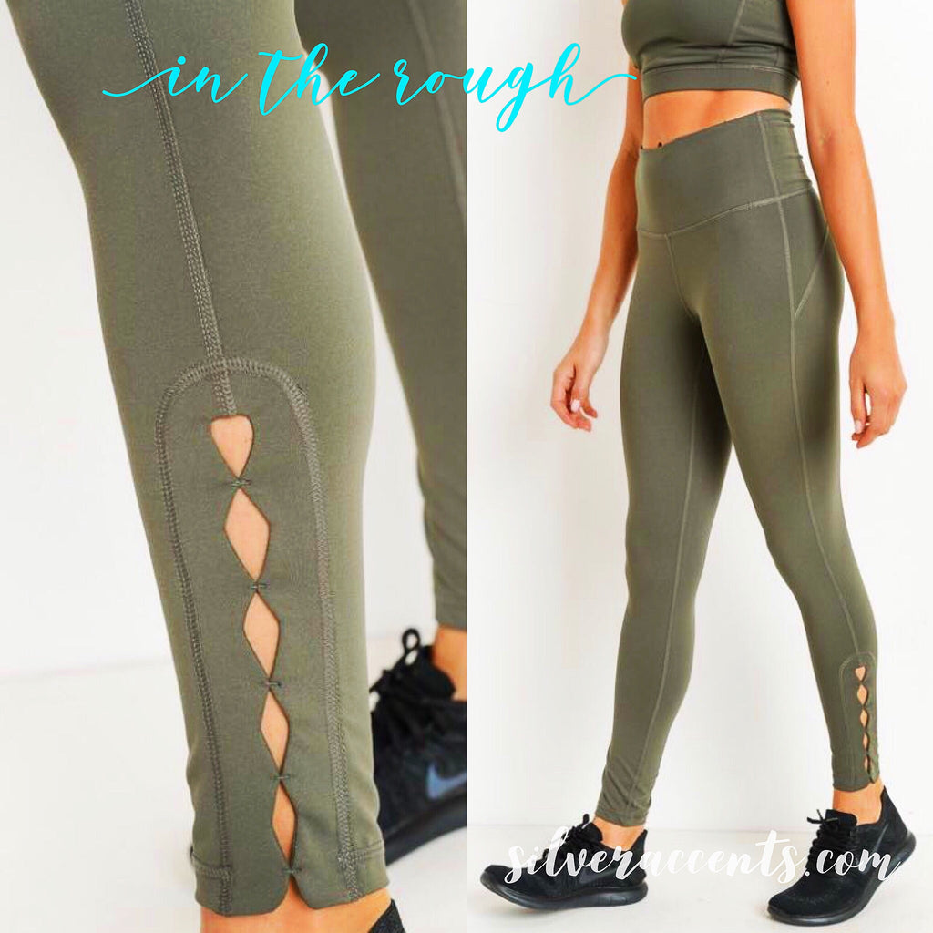 IN THE ROUGH Diamond Cutout Ankle Legging