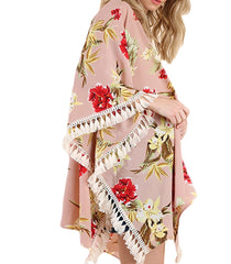 SOARING Floral Open Front Kimono With Tassels