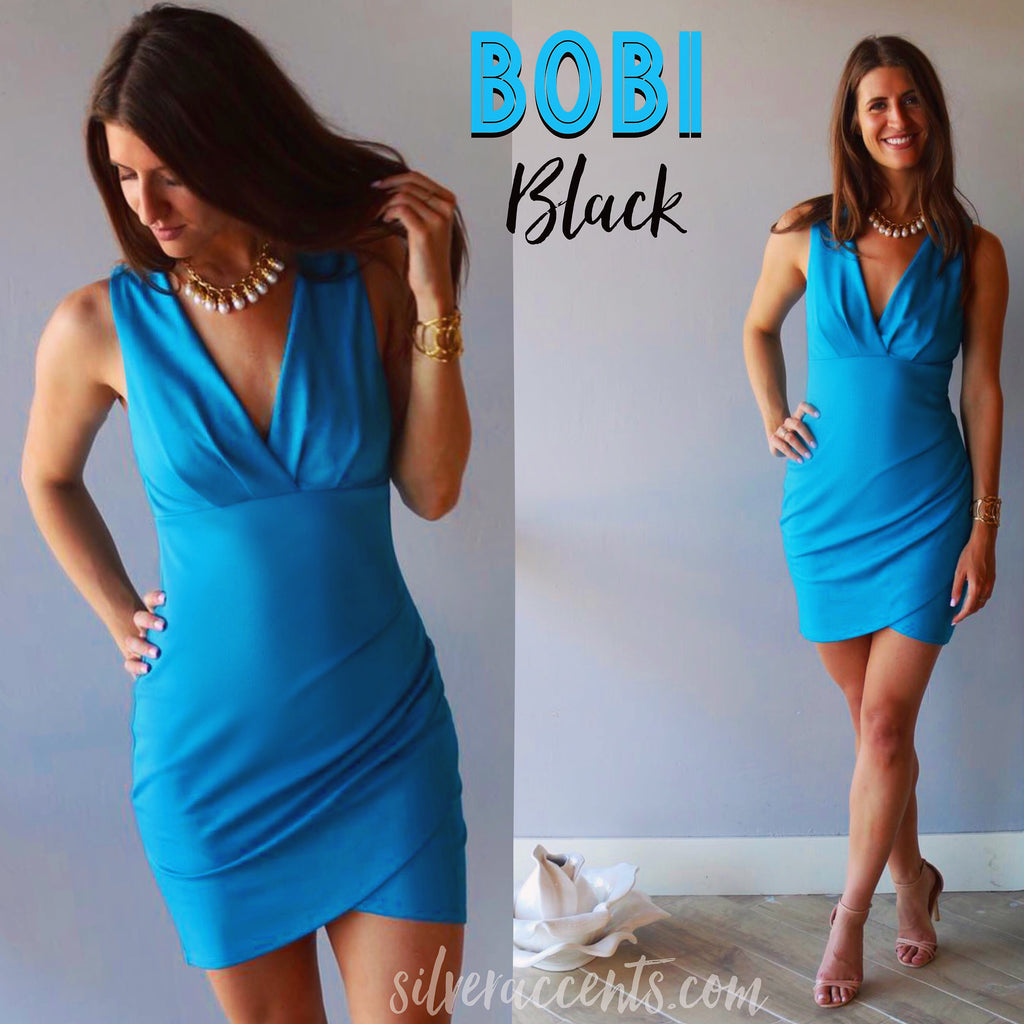 BOBI BLACK Mediterranean Blue DUTCHESS V-Neck WrapHem LuxeJersey Dress