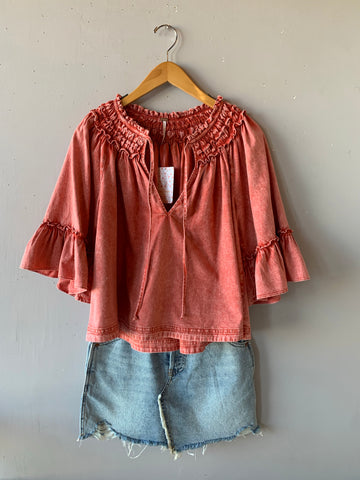 FREE PEOPLE Mineral~Wash AINSLEY Denim Top