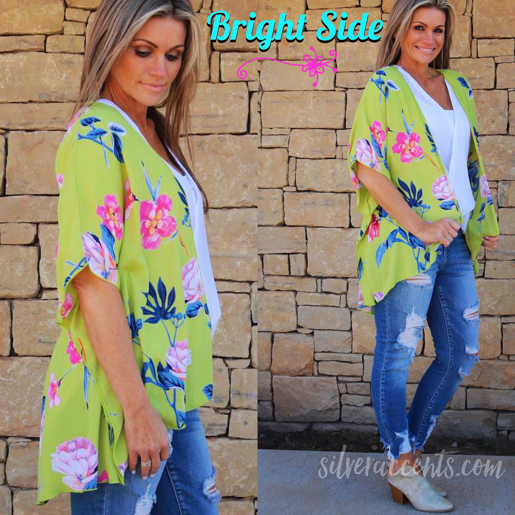BRIGHT SIDE Floral Kimono Open Cardigan Top
