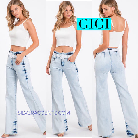 GIGI HiWiasted AcidWash Belted Stretch Flare Jean