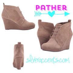 JESSICA SIMPSON Suede PATHER LaceUp Wedge Bootie