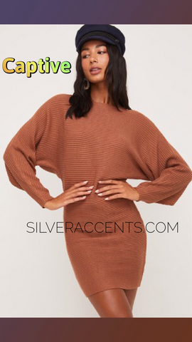 CAPTIVE BoatNeck DolmanSleeve RibKnit Sweater Dress