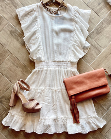 JURIED FlutterSleeve SmockWhite Dress