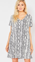 EXPRESS Python Print Supersoft  V-Neck Tee Shirt Dress w/Pockets