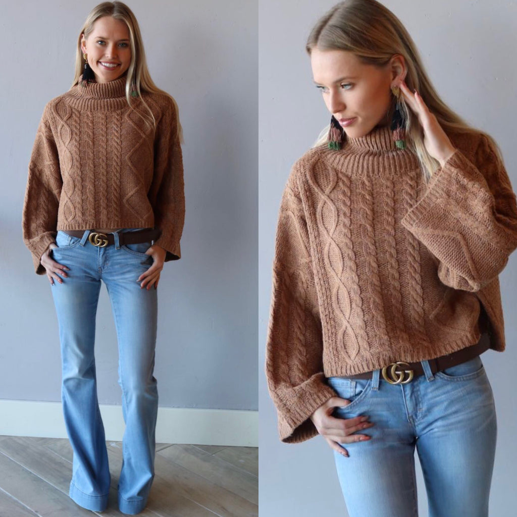 ENVY TurtleNeck CableKnit WaistCrop Sweater Top