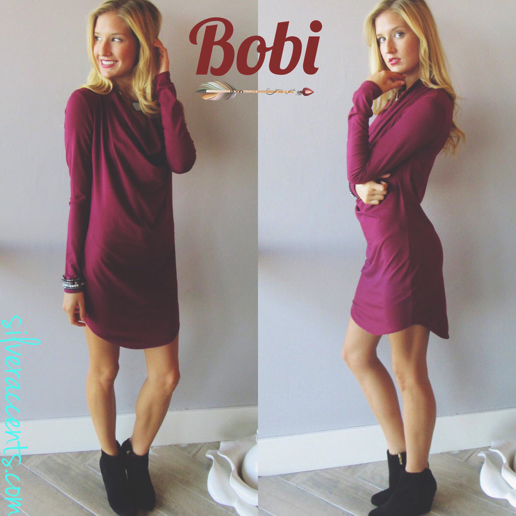 BOBI Jersey TAKE A CHANCE DrapeFront ScoopHem Dress