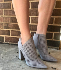 MOGUL Perforated Cutout Bootie Heels