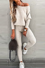 CHANCES 2pc RibKnit DolmanSleeve/Jogger Pant Set