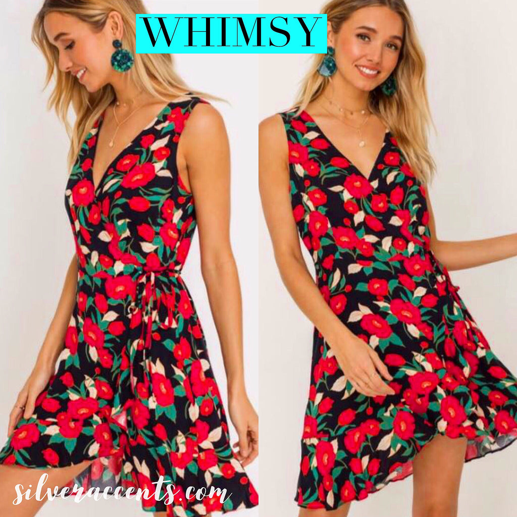 WHIMSY Floral RuffleWrap TieWaist Woven Dress