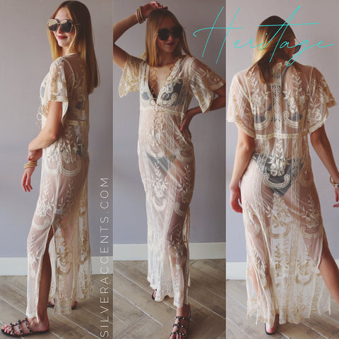 HERITAGE Lace VNeck Maxi Dress