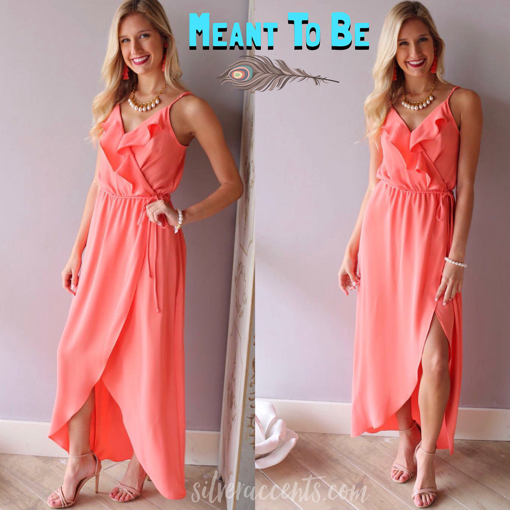 MEANT TO BE Ruffled CrossOver HiSlit Maxi Dress