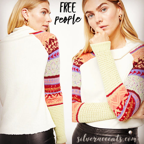 FREE PEOPLE Ivory Multi PRISM SWIT Contrast Sleeve Sweater Top