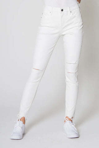 DEAR JOHN Hi~Rise GISELE Destructed Hem Ankle Jeans