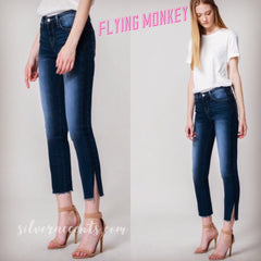 FLYING MONKEY MidRise DARK CASTOR Tux-Stripe SideSlit Jeans