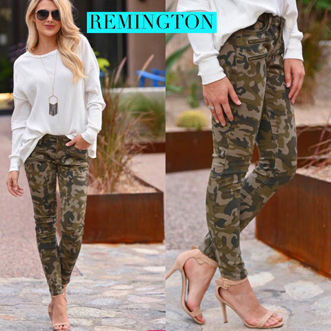 KC REMINGTON High Rise Camo Print Jeans