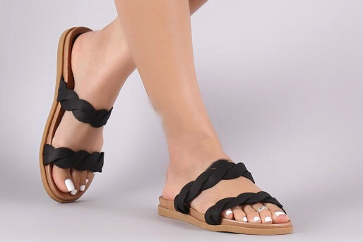 PARKWAY Double Braided Slide Sandal Shoe
