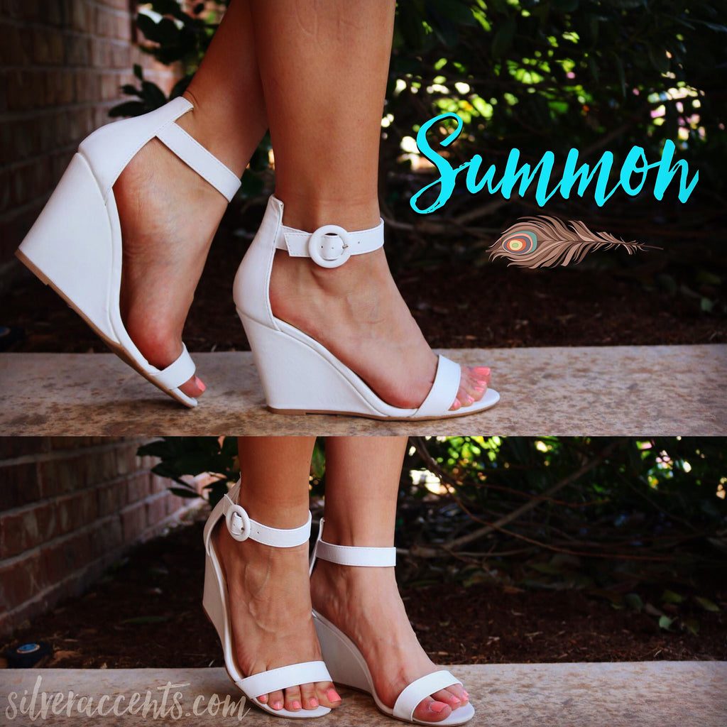 White SUMMON AnkleStrap Wedge Sandal Shoes