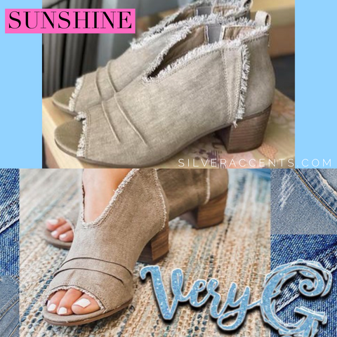 VERY G  Taupe SUNSHINE Frayed Canvas Peeptoe  Bootie