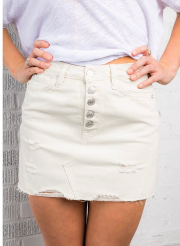 FREE PEOPLE Denim Frayhem A-Line Skirt