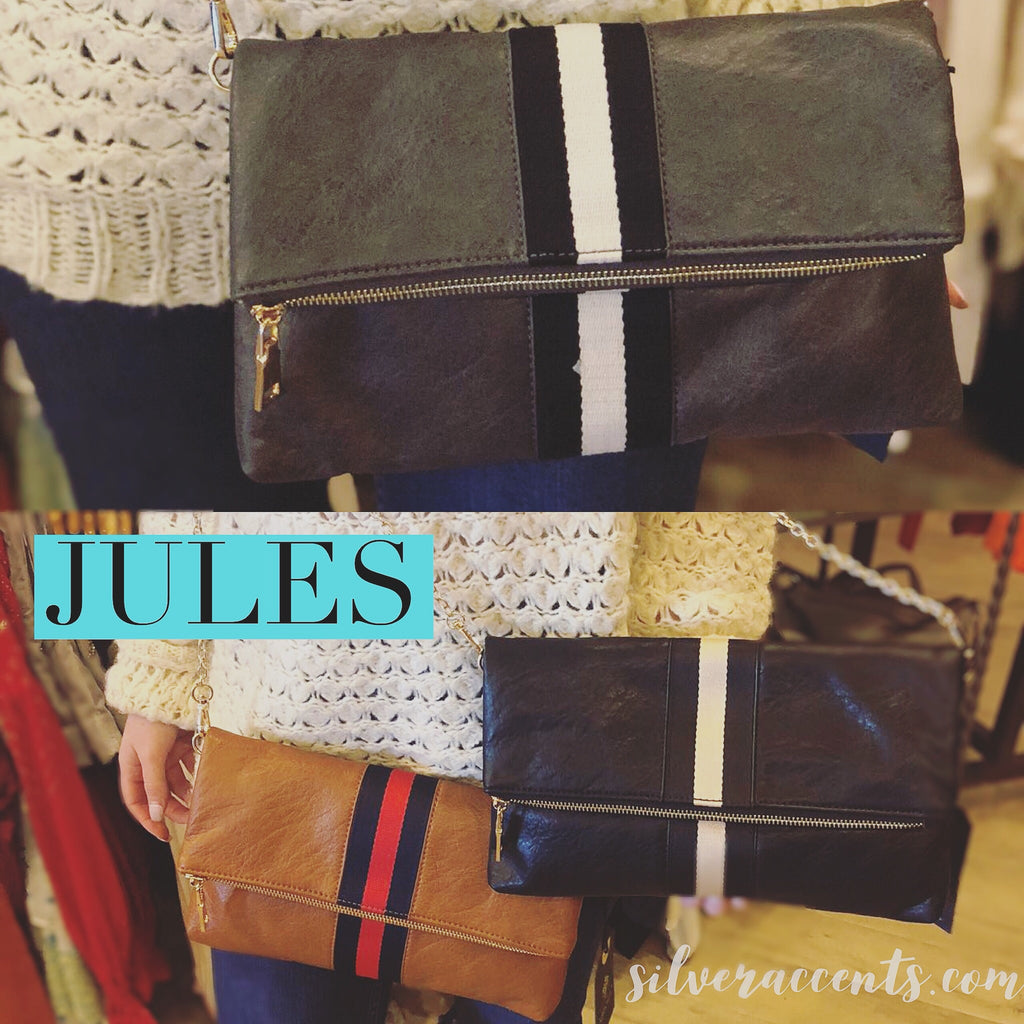 JULES Center Stripe Foldover Clutch w/Removable Chain Strap