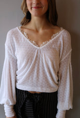 FREE PEOPLE White DREAMGIRL Pointelle V-Neck WaistCrop Knit Top