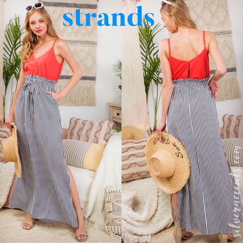 STRANDS Cami/Stripe HiRise TieWaist Maxi Skirt Twofer Dress