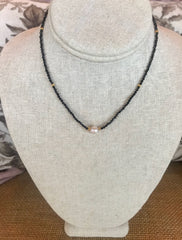 OMG KAMRYN Pearl Center Beaded Choker Necklace