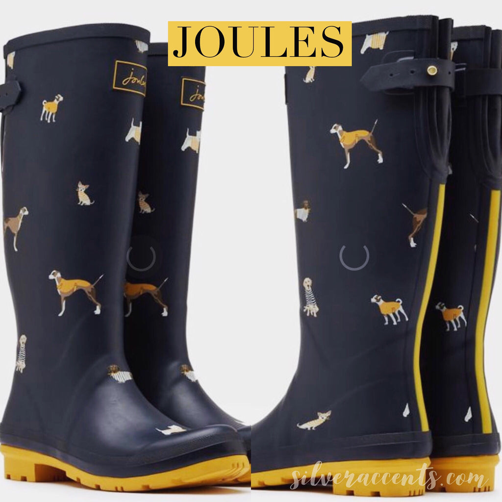 JOULES Navy HARBOUR DOGS Print Wellies Tall Rain Boots