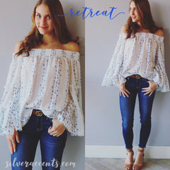 RETREAT Embroidered Floral OffShoulder BellSleeve Eyelet Top