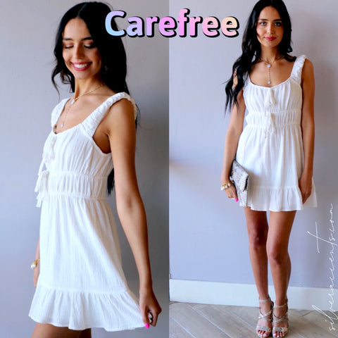 CAREFREE Tiered Knit Rouche Dress
