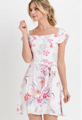 REFLECTIONS Floral Ruffled OffShoulder TieWaist Dress