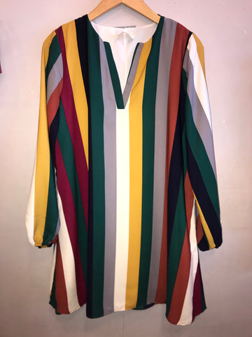 HEMISPHERE Stripe Split Neck Chiffon Shift Dress