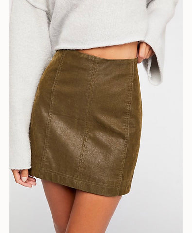 FREE PEOPLE Vegan Suede MODERN FEMME Mini Skirt