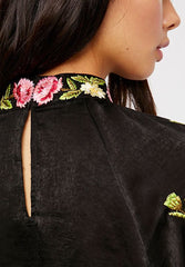 FREE PEOPLE Black JESSICA Embroidered Satin HiNeck Blouse Top