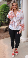 FREE PEOPLE Floral RUN FREE TieFront Silk Tunic Top