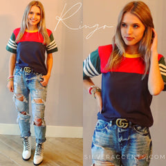 CAMP COLLECTION Colorblock RINGO StripeSleeve Ringer Tee Top