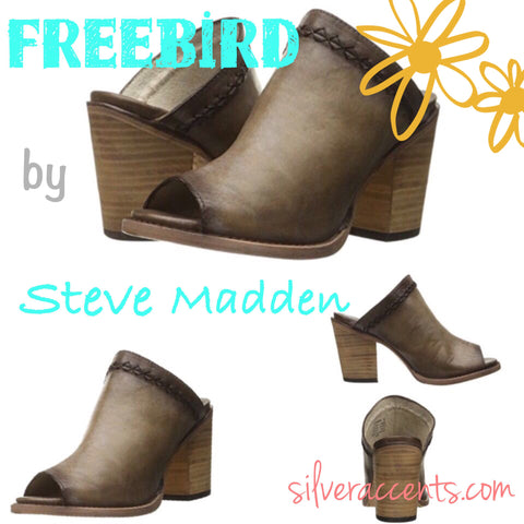 FREEBIRD By STEVEN Grey BAMBI Stacked Heel Mules Shoes