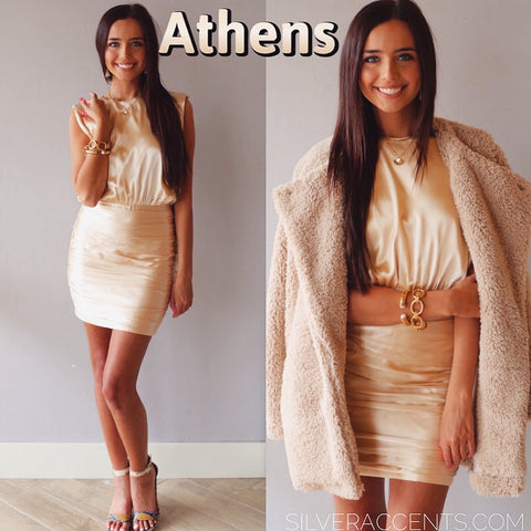 ATHENS BoatNeck RoucheBottom Satin Bodycon Dress