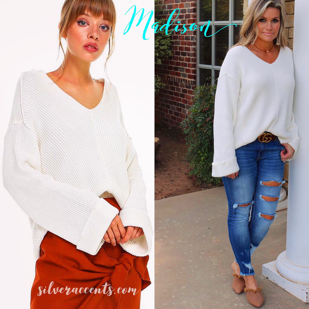 MADISON RibKnit V-Neck Rolled BellSleeve DropShoulder Sweater Top