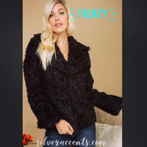 FRENZY Faux Fur Snap OpenFront Jacket