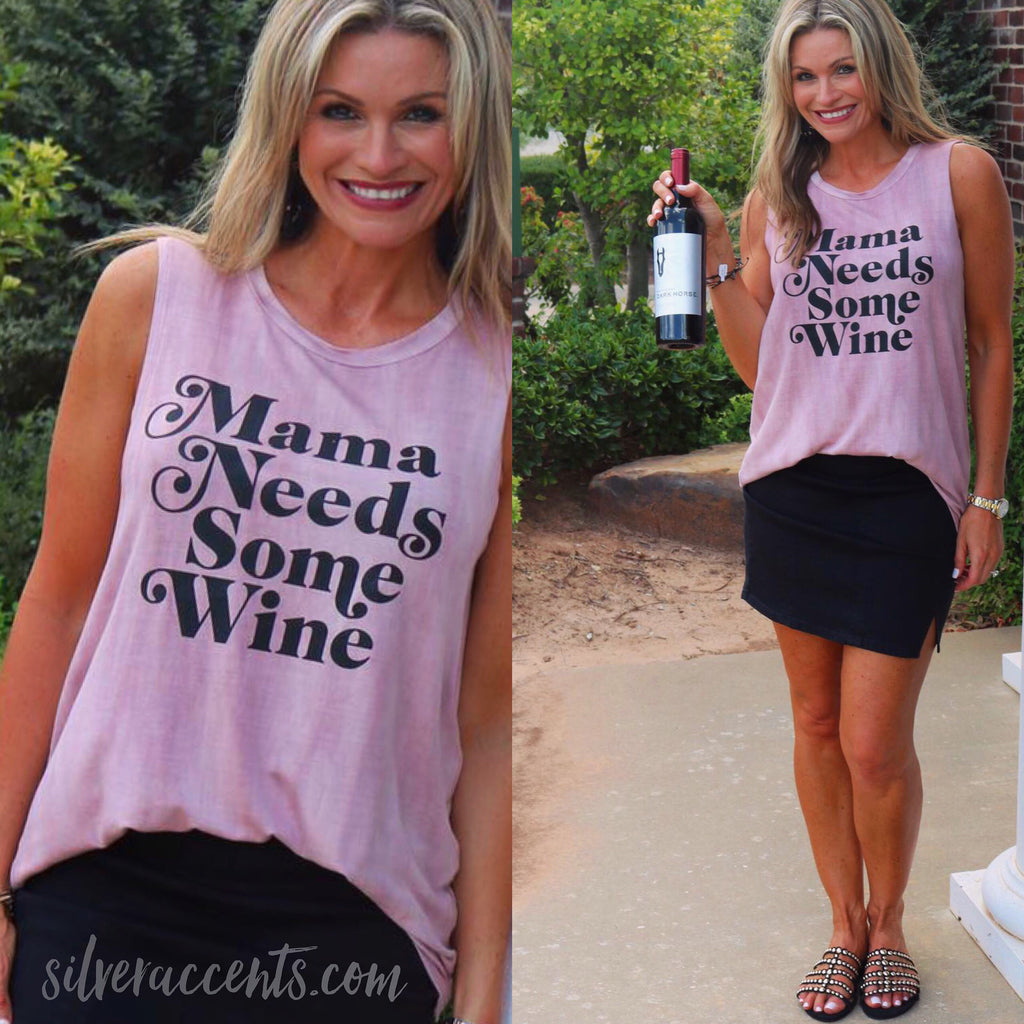 MAMA NEEDS SOME WINE DipDye Graphic Print Tank Top