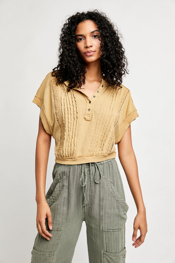 FREE PEOPLE RibKnit Crochet ROXY Crop Top