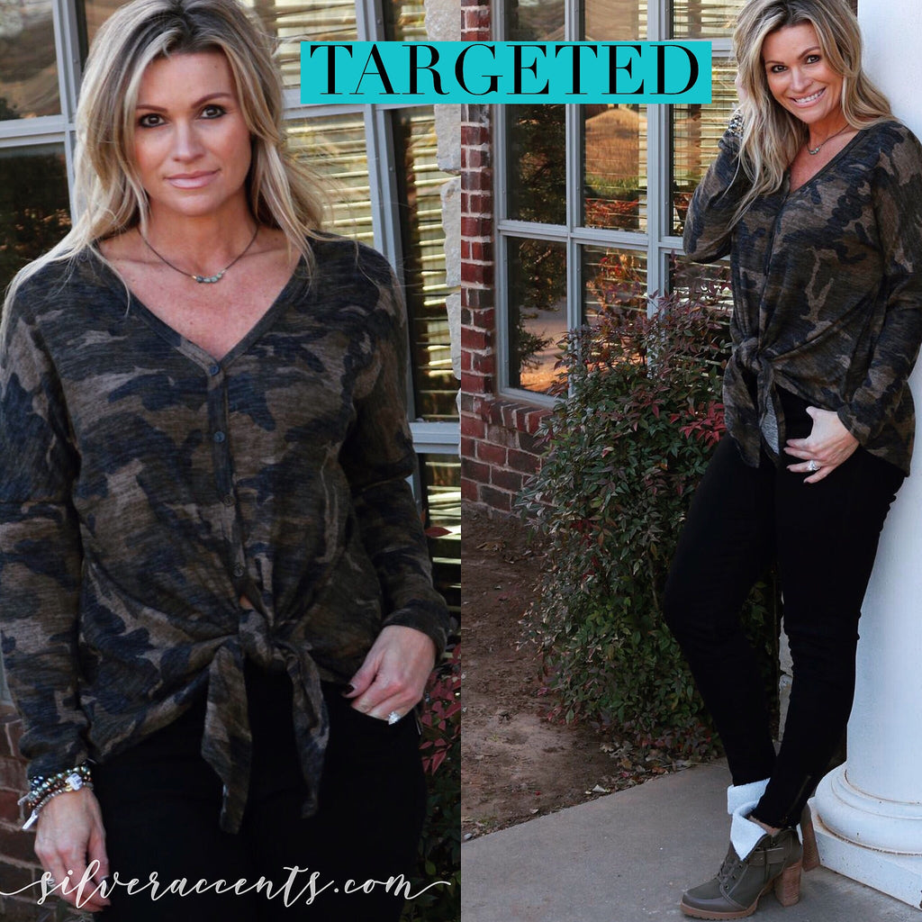 TARGETED Camouflage Print ButtonDown TieBottom BrushKnit Top