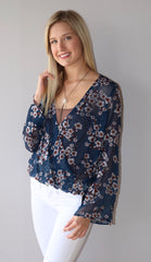 BLOSSOM Velvet Burnout Surplice CrossOver Top