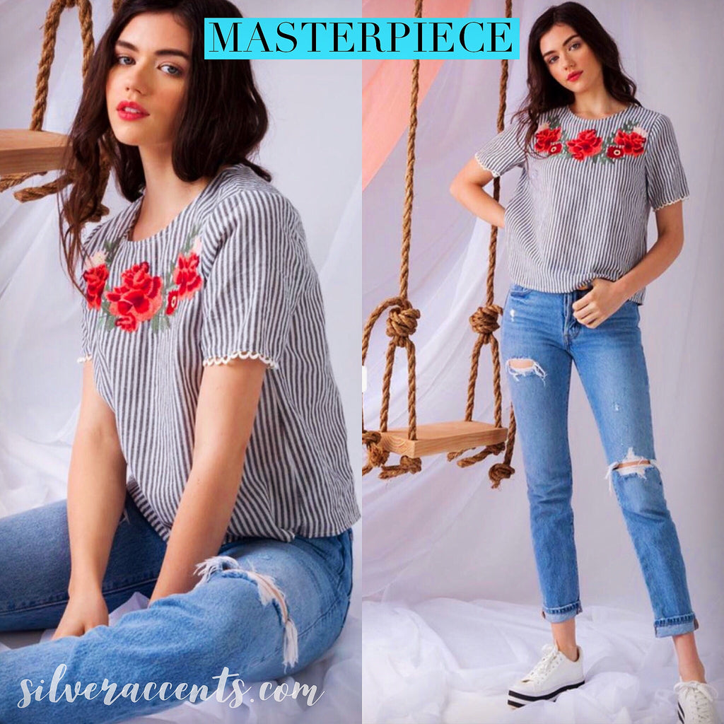 MASTERPIECE Stripe Embroidered Floral ScallopHem ShortSleeve Woven Top