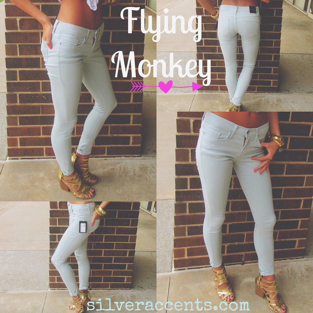 FLYING MONKEY Stretch SEMI-PRECIOUS Rollup Ankle Crop Skinny Jean