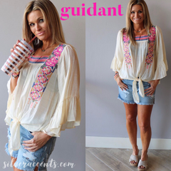 GUIDANT Embroidered Floral SquareNeck TieBottom RuffleSleeve Top