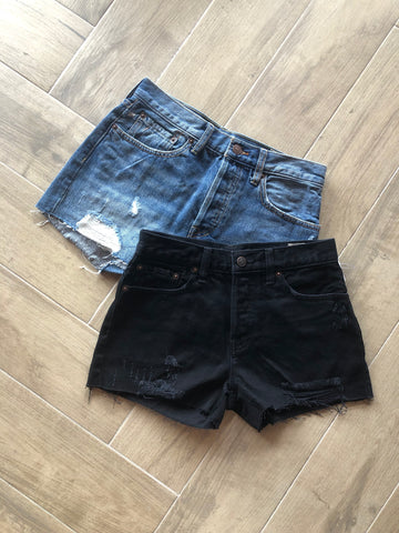 FREE PEOPLE Distressed SOPHIA Rigid HiRise Jean Shorts